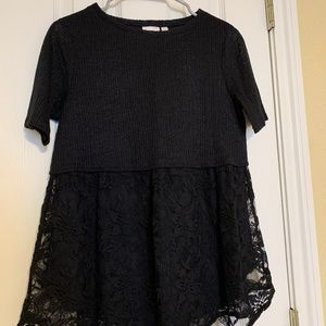 Black Sweater / Lace blouse